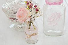 Hochzeitsdeko - 6 Vasen rosa Hochzeitsdeko Vintage Shabby - ein Designerstück von Wohngeschichten-von-K- bei DaWanda