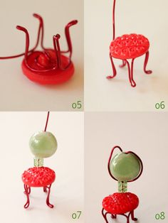 Mini chairs with wire, beads, buttons - DIY