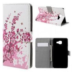 Samsung Galaxy A5 2016 vaaleanpunaiset kukat puhelinlompakko.