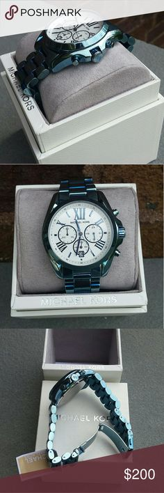 MICHAEL KORS Blue watch Bradshaw chronograph w/Roman numerals Stop watch feature  Clasp fastening  Stainless steal 43 mm case width Color: baby blue  I offer a 15% discount on 2 or more items. Thank you for stopping by my closet and have fun:) Michael Kors Accessories Watches