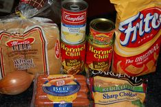 1 package (1 lb.) hot dogs 1 can (10 3/4 oz.) condensed cheddar cheese soup, undiluted 2 cans (15 oz.) chili without beans 1 can (4 oz.) dic...