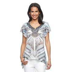 Women's World Unity Embellished Sublimation Top, White Oth