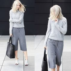 Acne Studios Sweater, Acne Studios Culottes, Alexander Wang Mules, Other Stories Bag