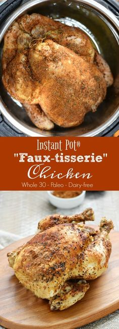 Weeknight meals just got easier with this delicious Instant Pot Faux-tisserie Chicken that is ready in no time and you control the seasonings | http://cookingwithcurls.com