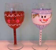 Snowman & Gingerbread Wine Glasses by purplepetalsstudio on Etsy