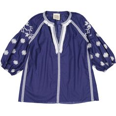 Doudou Blue Embroidered Blouse λαδιδα 49 εθρο