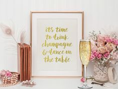 Champagne Quote, Gold Foil Quote, Champagne Print, Printable Art, Happy Print, 8x10, Inspirational Quote, Instant Download, Quote Printable