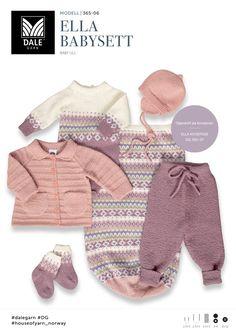 Settet er strikket i garnet Baby Ull fra Dale Garn - se mer på www.no/garn. Baby Set, Knitting For Kids, Baby Knitting Patterns, Crochet Baby, Knit Crochet, Baby Barn, Dress With Cardigan, Inspiration For Kids, Girls Pants