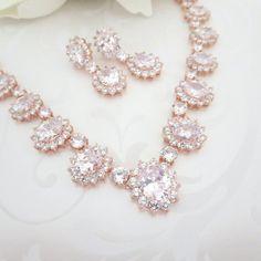 Rose Gold Bridal Jewelry Set Teardrop Wedding by YJDesign on Etsy