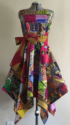 Vivid African Wax Print Dress With Asymmetric Cut Skirt and Optional Tie Belt…
