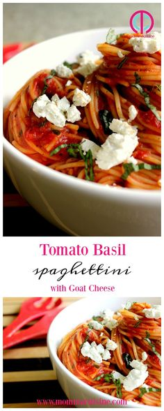 Tomato Basil Spaghettini with Goat Cheese - Recipes Great Pasta Recipes, Great Dinner Recipes, Goat Cheese Pasta, Goat Cheese Recipes, Vegetarian Recipes, Healthy Recipes, Healthy Meals, Tomato Basil Pasta, Original Recipe