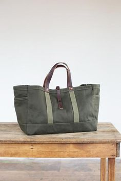 Artefact Bag Tool & Garden Tote in Olive Twill - Garden / Tool tote in olive twill