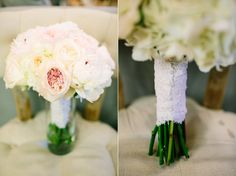 Gorgeous soft and feminine ivory and blush bridal bouquet hand-tied wrapped in lace   floral design by Kari Shelton |  Sacred Oaks Wedding | Audra + Andrea | Al Gawlik Photography | Texas hill country wedding http://www.theflowergirltx.com/