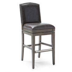 Have to have it. Belham Living Berkley Swivel Leather Bar Stool - Grey - $229.99 @hayneedle