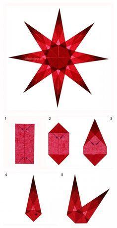 Adventsbasteln leicht gemacht | Weihnachtssterne aus Transparentpapier falten in Rot nach einer Anleitung des Blogs deschdanja. Eignet sich auch für das Basteln in Schule und Kindergarten. Paper stars Christmas craft. http://www.meinesvenja.de/2015/11/12/adventsbasteln-leicht-gemacht/