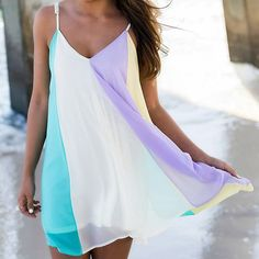 Stylish Spaghetti Strap Color Block Chiffon Women's Dress