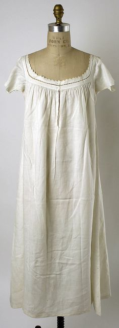 Met:   Chemise ---   Date: 1840–59 --- Culture: American --- Medium: linen --- Dimensions: Length (from shoulder): 43 1/2 in. (110.5 cm) --- Credit Line: Gift of Mrs. William D. Tucker, 1978 --- Accession Number: 1978.251.2
