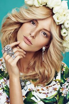Floral inspiration from Elle Magazine Czech Republic May 2014. Model: Michaela Kocianova / Photographer: Branislav Simoncik / Styled by: Jan Kralicek // #editorial