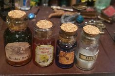 4 Miniature 1/12 jars witch potion for by TheDollHouseNym on Etsy
