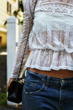Lace Top With Jeans. Street style