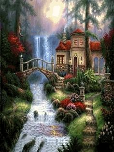 Art by Thomas Kinkade Nature Pictures, Beautiful Pictures, Thomas Kinkade Art, Kinkade Paintings, Art Thomas, Image Nature, Nature Nature, Mary Cassatt, Picture Blog