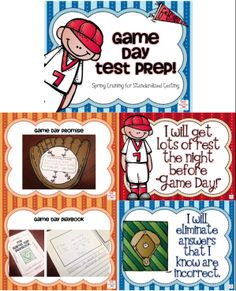 Get students more excited about standardized test prep by making it into a baseball themed spring training! Includes test prep posters, game day promise craft, spring training goals writing and craft, game day play book and more!