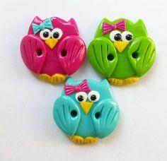 Cute little owls set of 3 polymer clay buttons