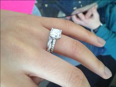 """Twisted wedding band with """"straight"""" engagement ring band this is what I want but half rose gold and half white gold!"""