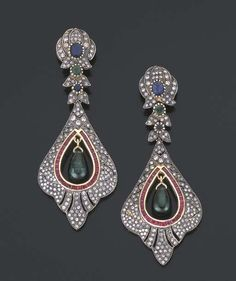 A PAIR OF GEM-SET SILVER AND GOLD EAR PENDANTS