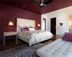 Modern Bedroom Maroon Walls Design, Pictures, Remodel, Decor and Ideas