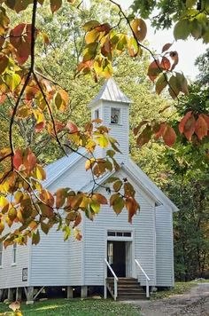 Cades Cove Missionary Baptist Church Poster by Kenny Francis Cades Cove, Tennessee Missionary Baptist Church By Kenny Francis Old Country Churches, Old Churches, Missionary Baptist Church, My Father's House, Church Pictures, Fall Pictures, Pretty Pictures, Take Me To Church, Les Religions