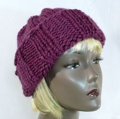 Hand Knit Purple Hat, Slouchy Wool Watch Cap, Winter Tuque, Wool Toboggan - who knew there were so many names for a simple hat?