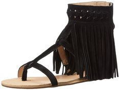 Koolaburra Women's Athena Gladiator Sandal, Black, 10 M US. Sandal featuring woven ankle strap with floor-length trim and T-strap silhouette. Rear-zip entry.