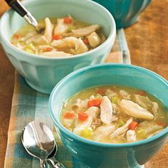 Easy Chicken and Dumplings | In this first recipe, deli-roasted chicken, cream of chicken soup, and canned biscuits make a quick-and-tasty version of classic chicken and dumplings.