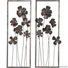 J-Line Wanddecoratie met metalen bloemen bruin 110 Assortiment van 2 stuks