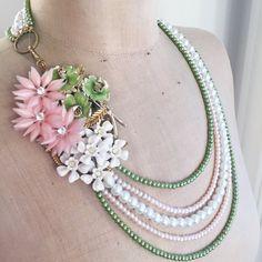 SALE Stunning Multi Strand Vintage Flower Asymmetrical Necklace