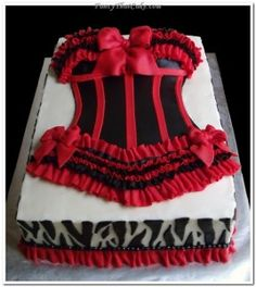 Red/Black Lingerie Cake w/ Zebra Print Border.would be perfect for lingerie party before the big day :) Lingerie Cake, Lingerie Party, Black Lingerie, Beautiful Cakes, Amazing Cakes, Corset Cake, Dress Cake, Sexy Cakes, Bridal Shower Cakes
