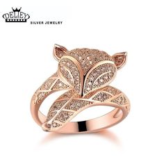 925 Sterling Silver Fox Ring Top Quality Jewelry