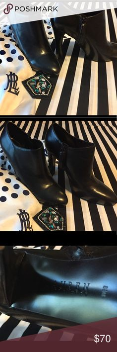 """Gorgeous Ralph Lauren Black Leather Ankle Booties These are absolutely Gorgeous! Ralph Lauren Black Leather Ankle Booties with high 4"""" Heel. Like new condition. (Scarf and jewelry not included) Ralph Lauren Shoes Ankle Boots & Booties"""