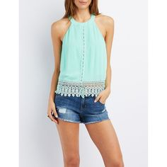 Charlotte Russe Crochet-Trim High Neck Tank Top ($19) ❤ liked on Polyvore featuring tops, mint, mint green tank top, sleeveless tank, charlotte russe, high neck tank top and keyhole top