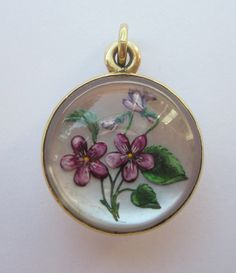 Antique (1898) Victorian Hand Painted Forget Me Not Mourning Pendant 10K