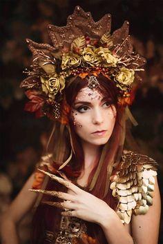 Woodland Goddess Headpiece Autumn crown Leaf Kokoshnik #BellyDancingPhotoshoot