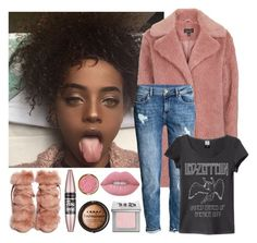 """pink"" by adele-adik ❤ liked on Polyvore featuring Gianvito Rossi, Topshop, H&M, Lime Crime, Urban Decay, LORAC and Maybelline"
