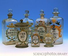 Historical glassware. A collection of historical glassware used in pharmacies of the 19th century. These vessels were used for various herbs and medicines. The vessel at front left is for sulphur powder. The other vessels are for liquids; oily or alcoholic solutions of herbs and medicines.