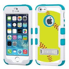 One Tough Shield ® Hybrid 3-Layer Kick-Stand Case (White/Teal) for Apple iPhone 5 5s - (Softball Green):Amazon:Cell Phones & Accessories