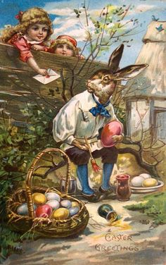Old Easter Post Card — Easter Greetings  (627x1000)