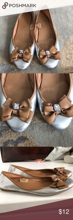 Silver and camel ballet flats size 10 Excellent condition. Jc penny brand. Never wear. But someone should. Look like a j crew shoe to me.  Size 10. jcpenney Shoes Flats & Loafers