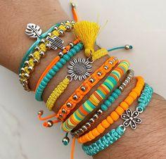 Handmade Wire Jewelry, Beaded Jewelry Designs, Handmade Bracelets, Diy Jewelry, Jewelery, Jewelry Making, Bohemian Bracelets, Cute Bracelets, Beaded Bracelets