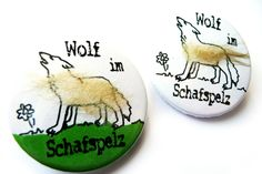 Buttons - Tiere - Wolf im Schafspelz, 38mm Button mit Wolle - ein Designerstück von Kirschblueten-Tsunami bei DaWanda