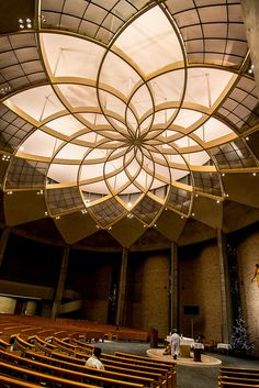 Ignatius Church, Kojimachi, Tokyo, Japan Sacred Geometry in Ceiling Tokyo Architecture, Sacred Architecture, Church Architecture, Beautiful Architecture, Beautiful Buildings, Architecture Details, Interior Architecture, Geometry Architecture, Parametrisches Design